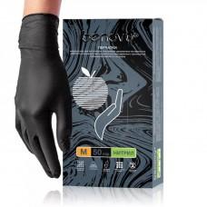 Перчатки особочувствительные нитриловые BENOVY текстурированые на пальцах черные 50 пар